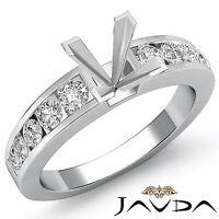 Diamond Engagement Princess Semi Mount Ring Channel Setting 14k White Gold 0.7Ct