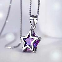 Jewelry Women Star Pendant Purple Crystal Silver Plated Chain Necklace