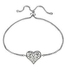 Sterling Silver Filigree Heart Polished Adjustable Barcelet