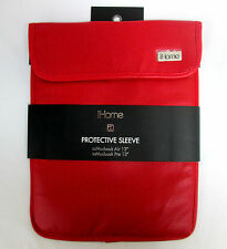 """iHome Macbook AIR or PRO 13"""" Laptop Protective Sleeve Red w/ Black Liner 14""""x11"""""""