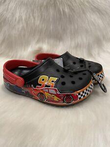 NEW Crocs Disney Pixar Cars Kids Lightning McQueen black Shoes Size c10 NWT