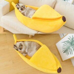 Funny Pet Dog Cat Bed Banana Shape House Fluffy Warm Soft Sleep Plush