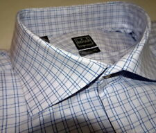 NEW $225 men IKE BEHAR 16.5 32 33 DRESS SHIRT Blue Check 120's 2ply i314 turkey
