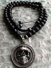 Halskette Halbedelstein totenkopf Medaillon Onyx matt glanz skull Necklace Biker