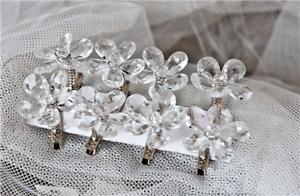 8 x Wedding Clear Daisy Hair Clips Bridal Bride Flowergirl Bridesmaid Hair Clips
