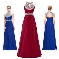 GK Elegant  Halter Sequine Bead Chiffon Ball Gown Evening Prom Party Long Dress