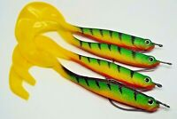 Soft lures x 4 with offset hooks, drop shot, kopyto - pike, perch zander fishing