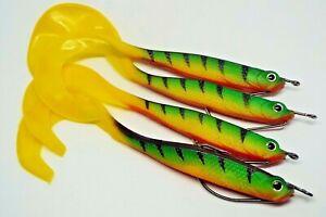 Soft lures x 4 with offset hooks, drop shot, kopyto - pike, perch zander fishing