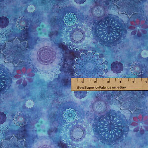 Good Vibes Blue Medaiilions Blessing Peace Fabric  1/2 Yard  #Y3118-90