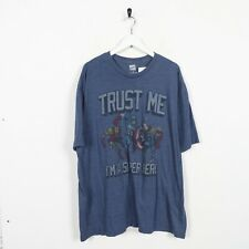 Vintage MARVEL COMICS Trust Me Big Graphic Logo T Shirt Tee Blue 2XL