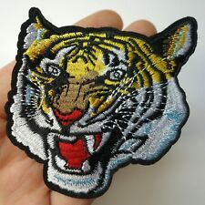 Tiger Head, Roaring Patch Iron-On/Sew-On Embroidered Applique, Biker