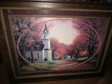 "CHURCH SCENE SIGNED BY R. VAN BEEK FRAMED MATTED ART PRINT 46""x34"""
