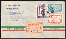 MEXICO AIR POST #C203-C204 + 872 on 1950 FIRST DAY REGISTERED COVER TO USA