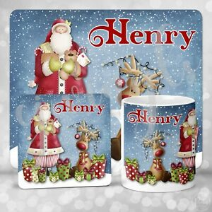 Personalised Santa And Reindeer Christmas Eve Gift Set Mug Coaster Placemat #2