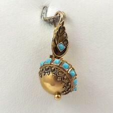 Victorian 14K Yellow Gold Turquoise Ball Dangle Bauble Charm Pendant 1.9gr