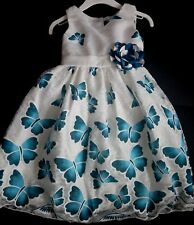 Blue Teal Flower Girl Bridesmaid Occasion Guest Summer Wedding Party Dress 2-12y