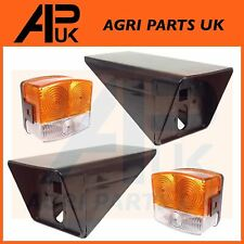 PAIR Case International 885 940 Tractor Front Side Lights Lamp & Support Bracket