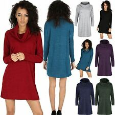 Womens Cowl Neck Jumper Ladies Knitted Mini Dress Long Sleeve Oversize Baggy Top