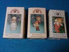 (3) 1988 & 1989  Enesco Ornaments ~ Porcelain ~ Baby's 1st Christmas Santa ~ NIB