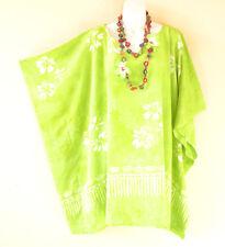 Green Batik Hibiscus Plus Size Kaftan Beachwear Batwing Poncho - 2X, 3X, 4X & 5X