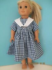"18 ""doll cute blue check dress for American Girl & all 18"" dolls"