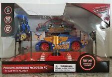 Disney Pixar Cars 3 Podium Lightning McQueen Blue Radio Control RC Lights Sounds