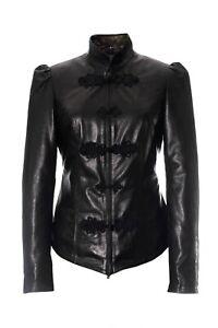 Women's Fitted Black Leather Frog Closure Jacket Edwardian Riding Jacket