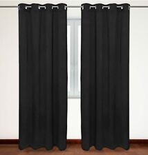 Over the Floor Blackout Curtains, Thermal Insulated Grommet Top 54x63-inch Black