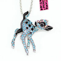 Betsey Johnson Enamel Crystal Cute Sika Deer Pendant Chain Necklace/Brooch Pin
