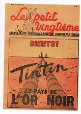 Carte Postale Tintin Le Petit Vingtième n°33 du 17 Juin 1939. L'OR NOIR