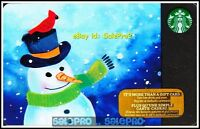 STARBUCKS COFFEE 2016 CANADIAN CHRISTMAS SNOWMAN COLLECTIBLE GIFT CARD