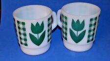 Retro Green Gingham Plaid Tulip Coffee Cup Termocrisa Milk Glass