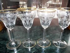 (4) Wine Glasses Intaglio cut etch Glass Gold gilt Moser Bohemian antique 19th c