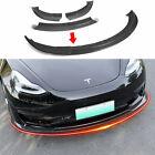 Fit Tesla Model 3 Carbon Fiber Front Bumper Lip Spoiler Accessories (Glossy)