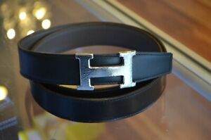 Hermes Men's Gray/ Black Reversible H-type Buckle Hammered Silver (L) 105 cm