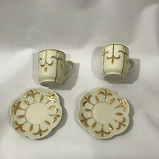 Set 2 Partylite Ivory Gold Tea Cup Saucer Votive Candle Holders