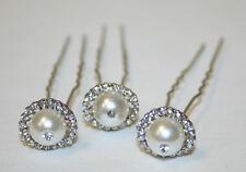 Wedding Hairpins, Hair Accessories with Pearls, Silver hair pins (3 pc)