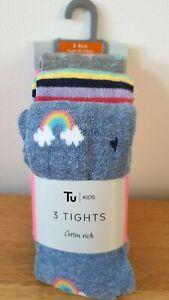 BNWT 3 x Girls TU Cotton Blend TIGHTS Grey RAINBOWS Stripe & Spot SIZE 3-4 years