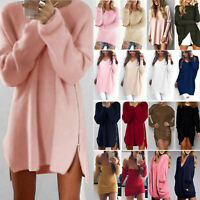 Womens Long Sleeve Knit Cardigan Pullover Jumper Tops Loose Casual Sweater Dress