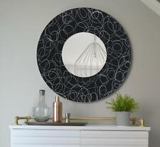"Handmade Black & Silver Round Wall Mirror Functional Metal Art - 23"" - Jon Allen"