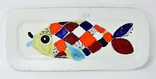 Mid-Century Modern Abstract Pottery Fish Platter Ursula Schneider Rabiusla