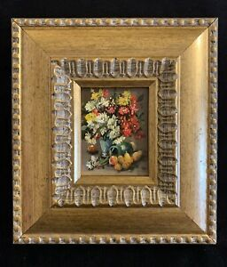 Original Miniature Oil Painting Antique Style Flowers With Gold Frame
