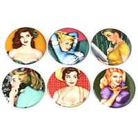 Retro Pin Up Girls Fridge Magnets Set 55mm 6pc Pinup Girl Art Decor Gift
