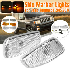 Pair LED Side Marker Lights Indicator Lamp W/Cable Cover For Jeep Renegade