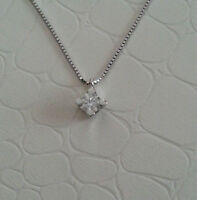 collana girocollo con  punto luce oro bianco 18kt -diamante naturale  0,05 ct