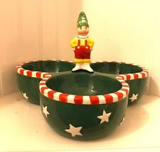 Mary Engelbreit Magic of Christmas Elf 3 Part Divided Serving Dish