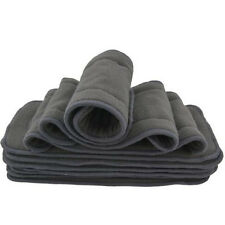 5 PCS/Set Bamboo Fiber Charcoal Washable Cloth Diaper Nappies Inserts 4 Layers