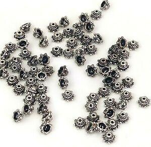 SC7257 50 Bead Caps Antique Silver Tone Four Point Leaf Design 7mm