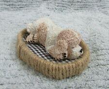 "Clumber Spaniel Puppy 1990's Sand Cast 3"" Figurine on Hemp Rope Edge Bed Free Sh"