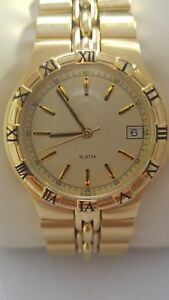 Gold Tone Stainless Steel Watch Golden Dial Swiss Made A4330-715 USA Seller